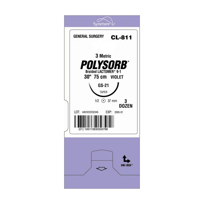 POLYSORB 3-0 3-8 19MM TRIANG. (36) 75CM